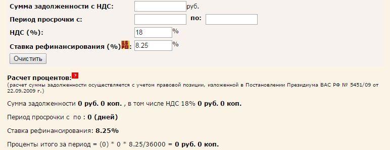 Онлайн калькулятор неустойки