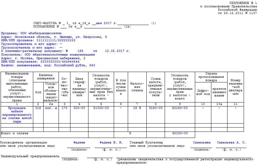 Счет-фактура по факту оказанных работ