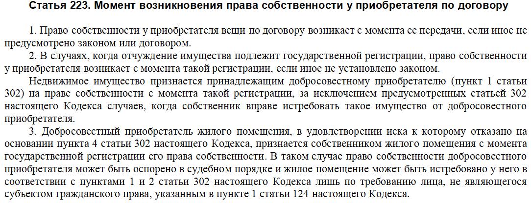 Ст. 223 ГК РФ про дату перехода права собственности на товар