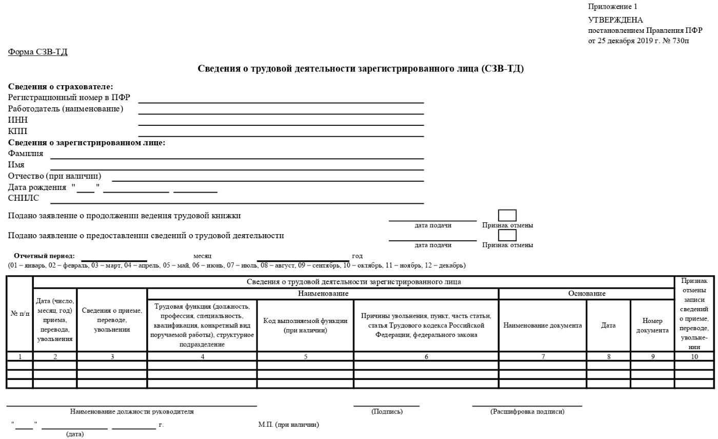 Образец бланка ежемесячного отчета от ПФР